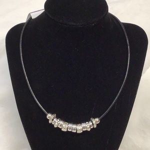 NWT Wearable Art silver colored beaded necklace